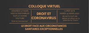 Colloque Virtuel «Droit et Coronavirus» : le droit (électoral) face aux circonstances sanitaires exceptionnelles [dir. O. Mamoudy, F. Rolin, S. Slama]