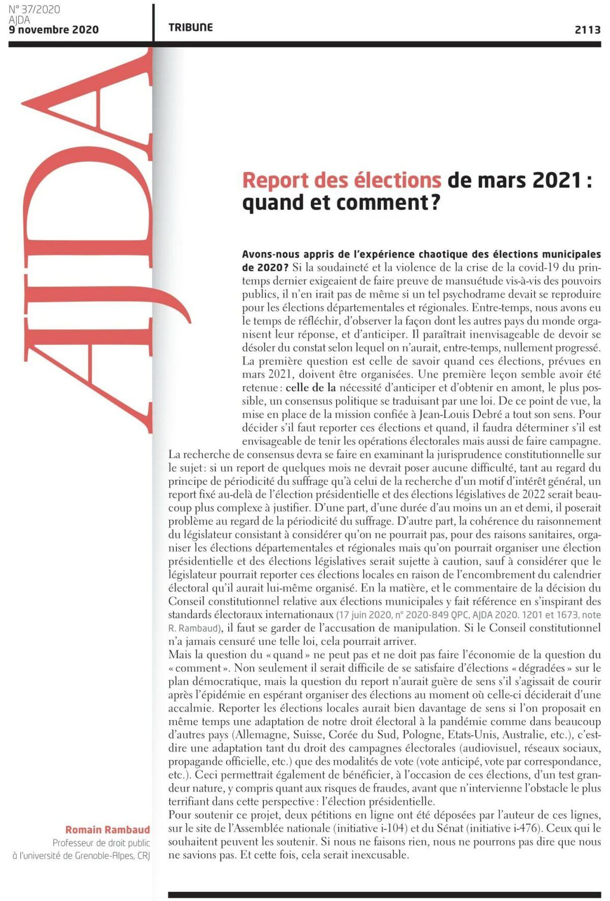 Report des élections départementales et régionales de mars 2021 : quand et comment ? [R. Rambaud, Tribune AJDA]