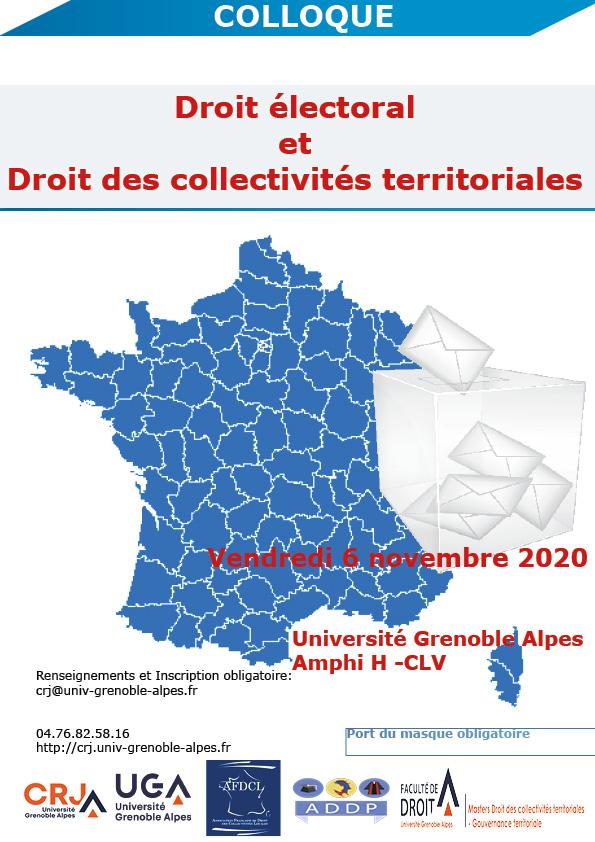 «Droit électoral et droit des collectivités territoriales» : colloque du CRJ (faculté de droit de Grenoble) avec l'AFDCL le 6 novembre 2020, en distanciel !