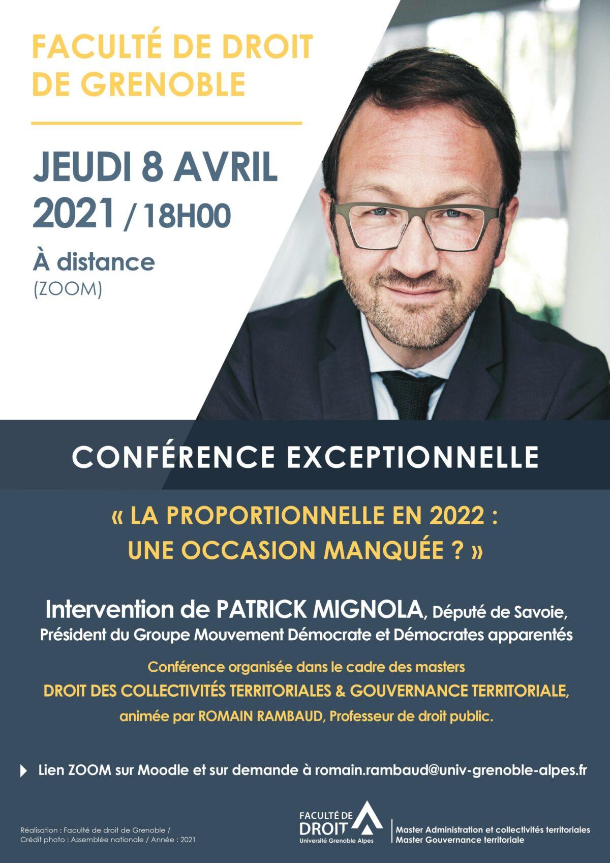 Conférence du Master Droit des collectivités territoriales de l'Université Grenoble-Alpes / Patrick Mignola, «La proportionnelle en 2022 : une occasion manquée» ? [8 avril, 18h, Zoom]