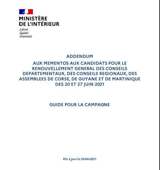 Elections départementales et régionales : publication des nouvelles règles de la campagne électorale et des opérations de vote ! [R. Rambaud]